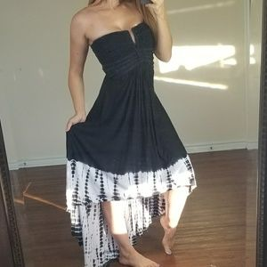SKY tie die braided tube maxi dress black & white